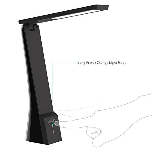 Amazon Prime - AUKEY Schreibtischlampe LED dimmbar, Touch Bedienung, wiederaufladbarem Akku, 3 Helligkeitsstufen und Lichtfarben 2900K-5200K, Mini Tischleuchte (LT-ST5)