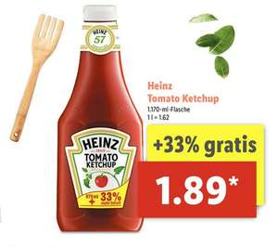 LIDL - Heinz Tomato Ketchup - 1170 ml Flasche für 1,89 €