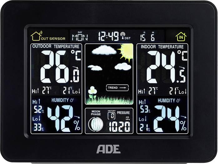 [voelkner] ADE Wetterstation WS 1503 mit Funk und Außensensor (schwarz)