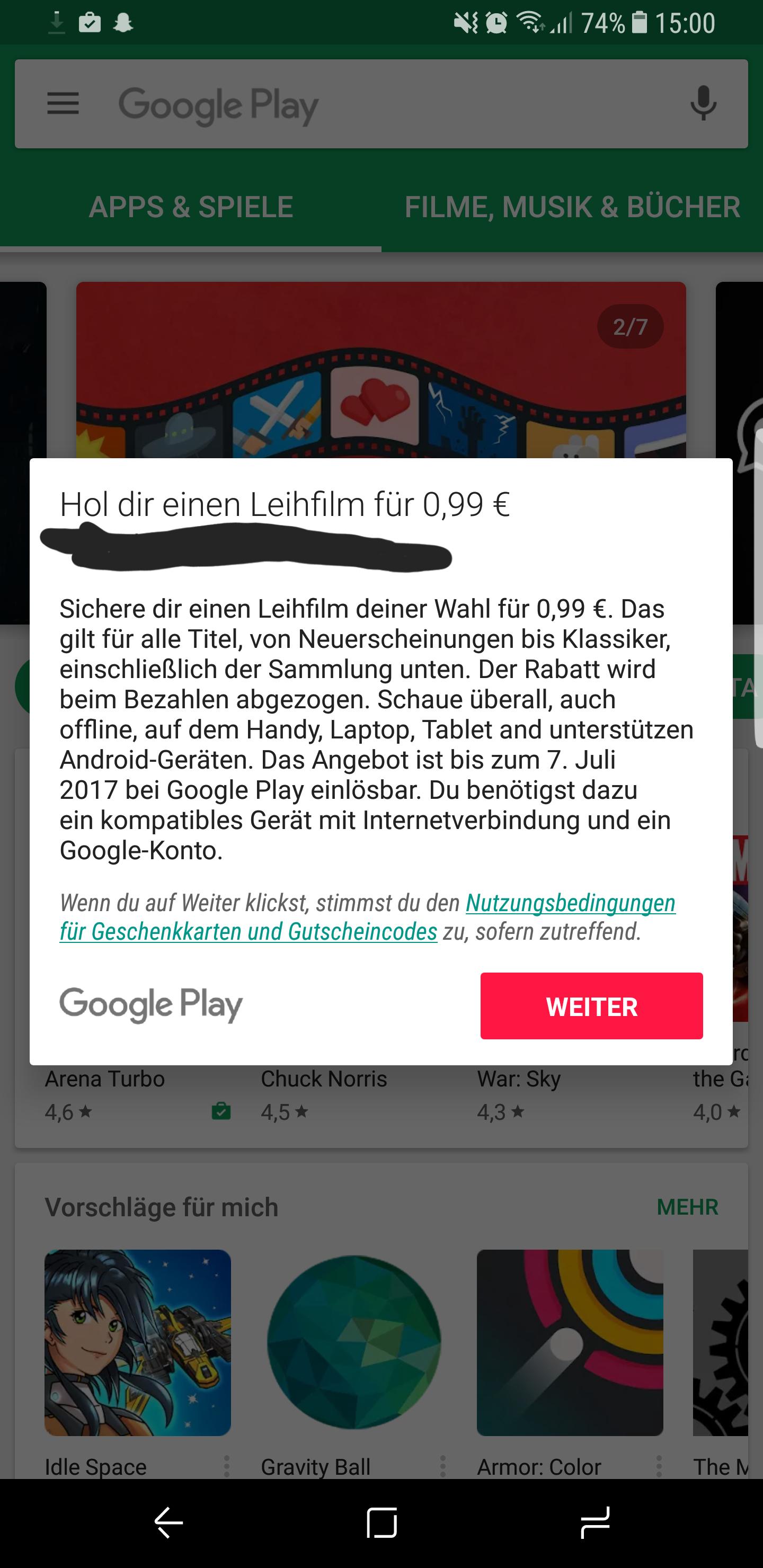 Einen Leihfilm für 0,99€! Bei GooglePlay