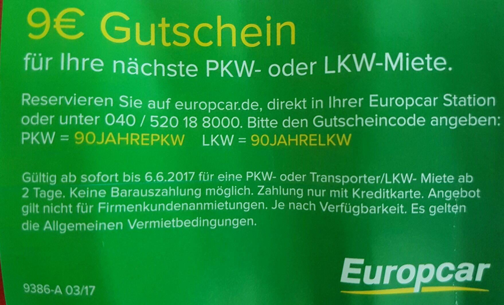 Europcar 9€ Gutschein bis 6.6.2017
