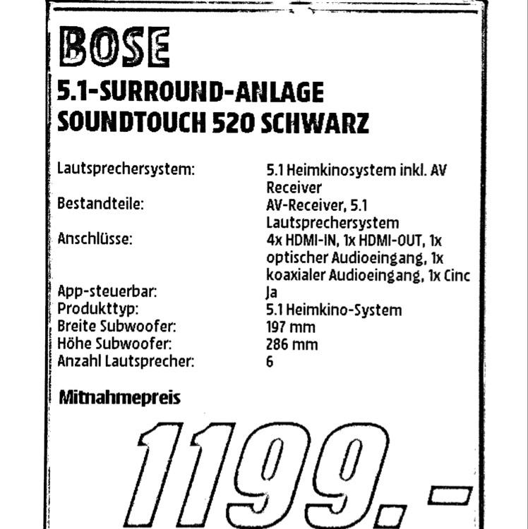 Bose Soundtouch 520 5.1 A/V Heimkino für 1199€ | Mediamarkt Bielefeld