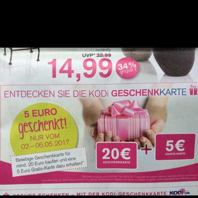5 € Gutschein geschenkt beim Kauf einer 20 €- Gutscheinkarte bei Kodi