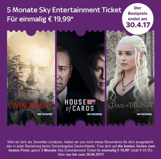 5 Monate Sky Entertainment Ticket für einmalig € 19,99 (Bestandskunden)