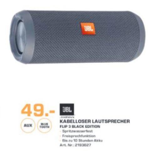 [Lokal Saturn Chemnitz] JBL FLIP 3 Sonder Edition, Bluetooth Lautsprecher, Ausgangsleistung 16 Watt, Wasserfest, Deep Black für 49,-€
