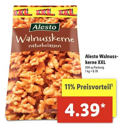 [Lidl ab 02.05.] Alesto Walnusskerne Naturbelassen 500g für 4,39€ & Alesto Erdnüsse geröstet und gesalzen 500g für 1,49€