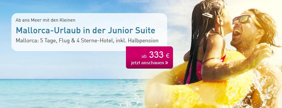 (LTUR.com) 2 Personen - 5 Nächte Mallorca im 4*Hotel mit Junior Suite (89% HolidayCheck), Zug zum Flug, Transfer, Halbpension, etc. (333€/Person // viele Termine, auch spontan über 1. Mai!)