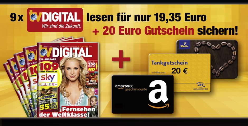 9 Ausgaben TV Digital XXL für 19,35€ lesen und 20€ Gitschein erhalten (20 € Gutschein nach Wahl - AMAZON, JET, TCHIBO)