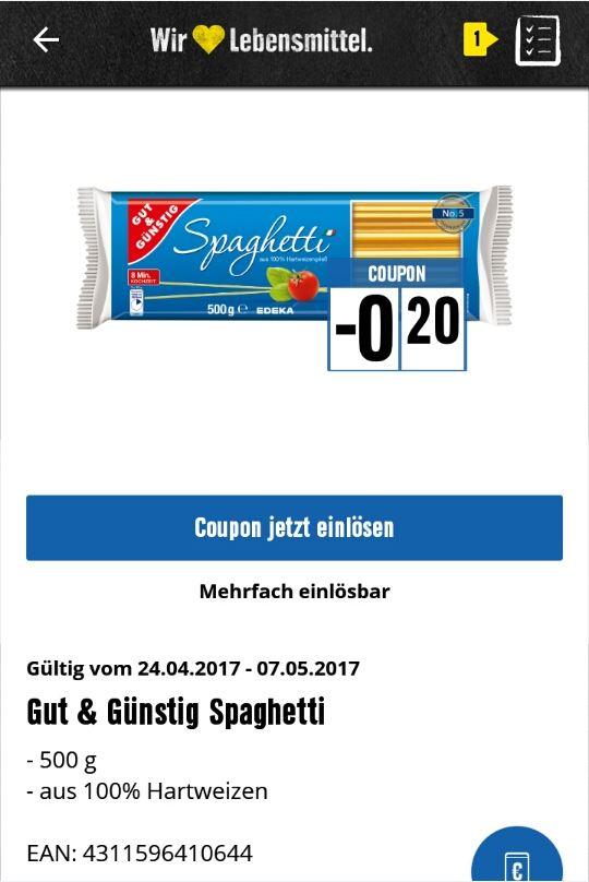 [Edeka, Filialen, welche die Edeka-App akzeptieren] Gut und Günstig Spaghetti 500g für 0,19€