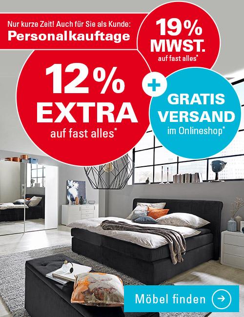 Verlängert bis 09.05.17  Höffner Möbel Online Shop minus 19% MwSt + 12% Extrarabatt auf fast alles + gratis Versand (10€ MBW)