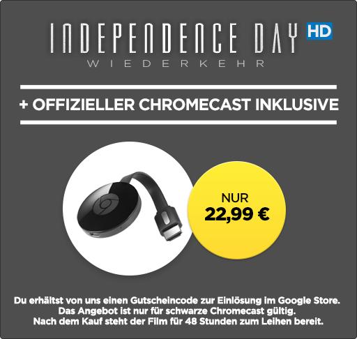 Chromecast 2 + Leihfilm »Independence Day: Wiederkehr« in HD für 22,99€ bei Wuaki
