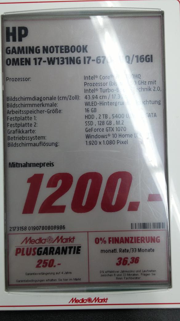 Lokal (MM Berlin Steglitz) HP Omen 17 Laptop mit GTX 1070