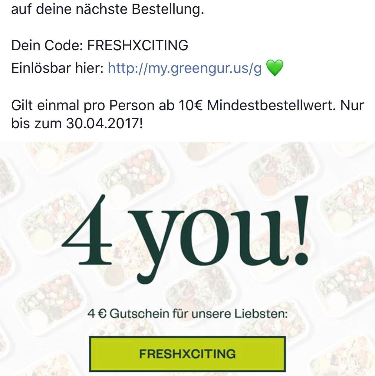 4€ Greengurus Gutschein (10€ MBW) - Berlin