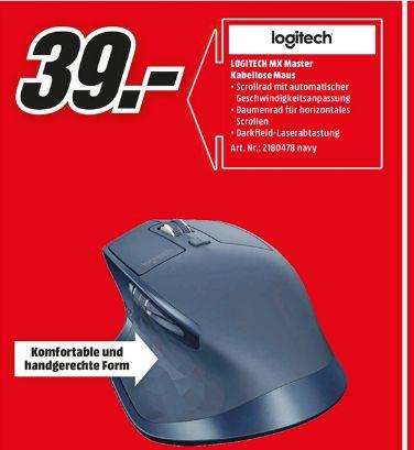 [Lokal Mediamarkt Delmenhorst / Stuhr] Logitech MX Master - Maus - Laser - 5 Tasten - drahtlos - Bluetooth, 2.4 GHz - kabelloser Empfänger (USB) - Marineblau für 39,-€