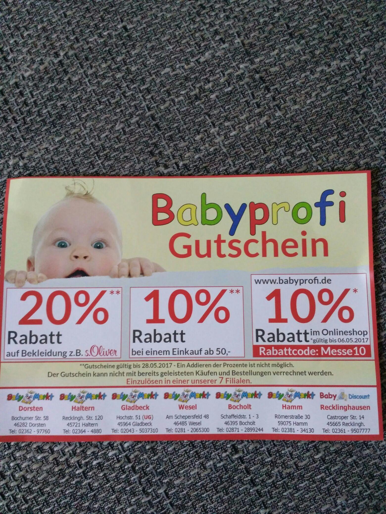 Babyprofi.de Messegutschein auf das ganze Sortiment [online/offline]