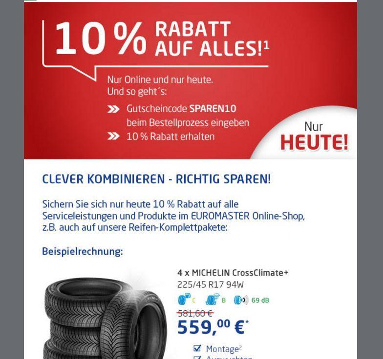 Nur Heute. Nochmal extra sparen bei Euromaster im Onlineshop