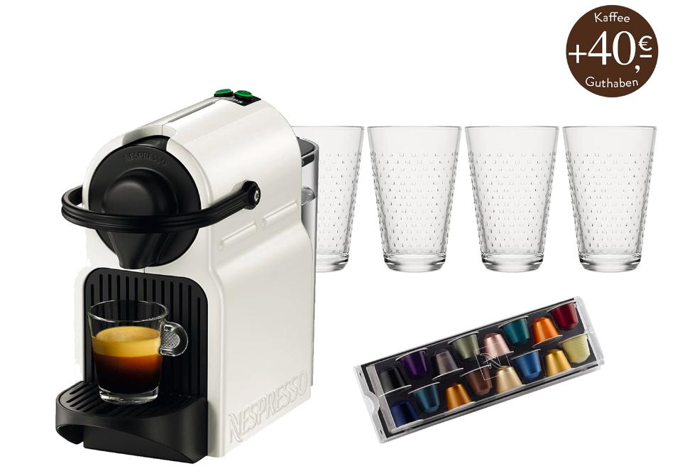 Nespresso Inissia mit 4 Gläsern, 16 Kapseln und 40€ Startguthaben für 78,90€ inkl. Versand bei Westwing