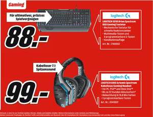 [Mediamarkt] Logitech G933 Artemis Spectrum Kabelloses 7.1 Gaming Headset für 99,-€******* Logitech G910 Orion Spectrum RGB Mechanical Gaming Keyboard für 88,-€**Angebote Online**