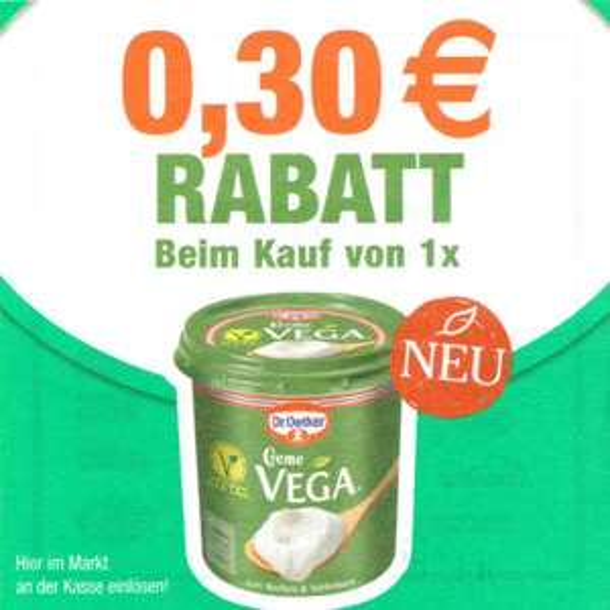 [Bundesweit] Neuer Dr. Oetker Creme Vega 0,30€ Sofort-Rabatt-Coupon