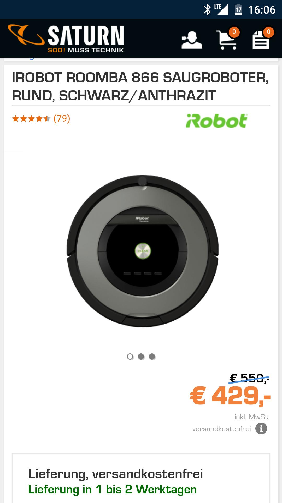 Saturn IROBOT ROOMBA 866429,00€ (Idealo 479,00€)