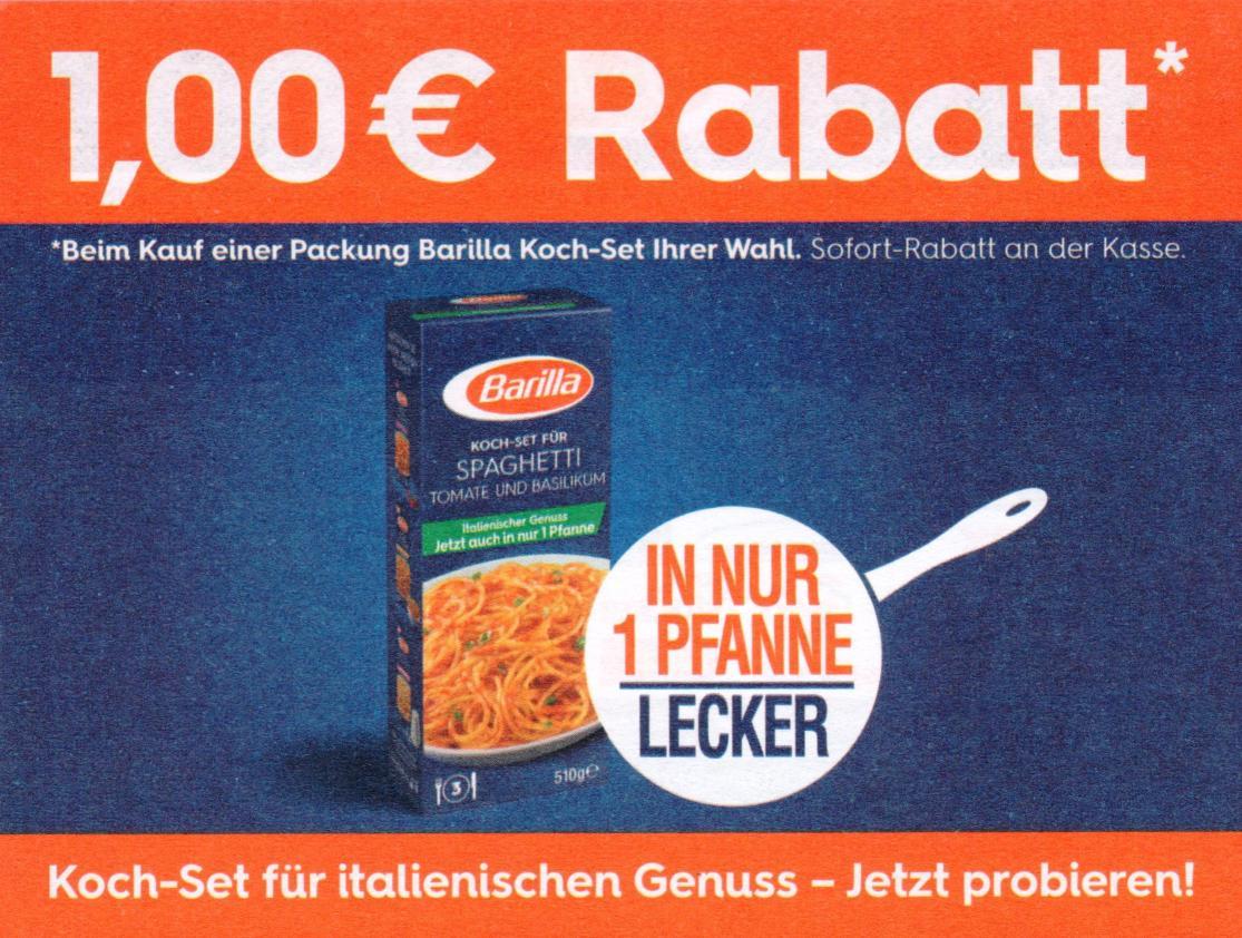 Neuer 1,00€ Sofort-Rabatt-Coupon auf Barilla Kochsets