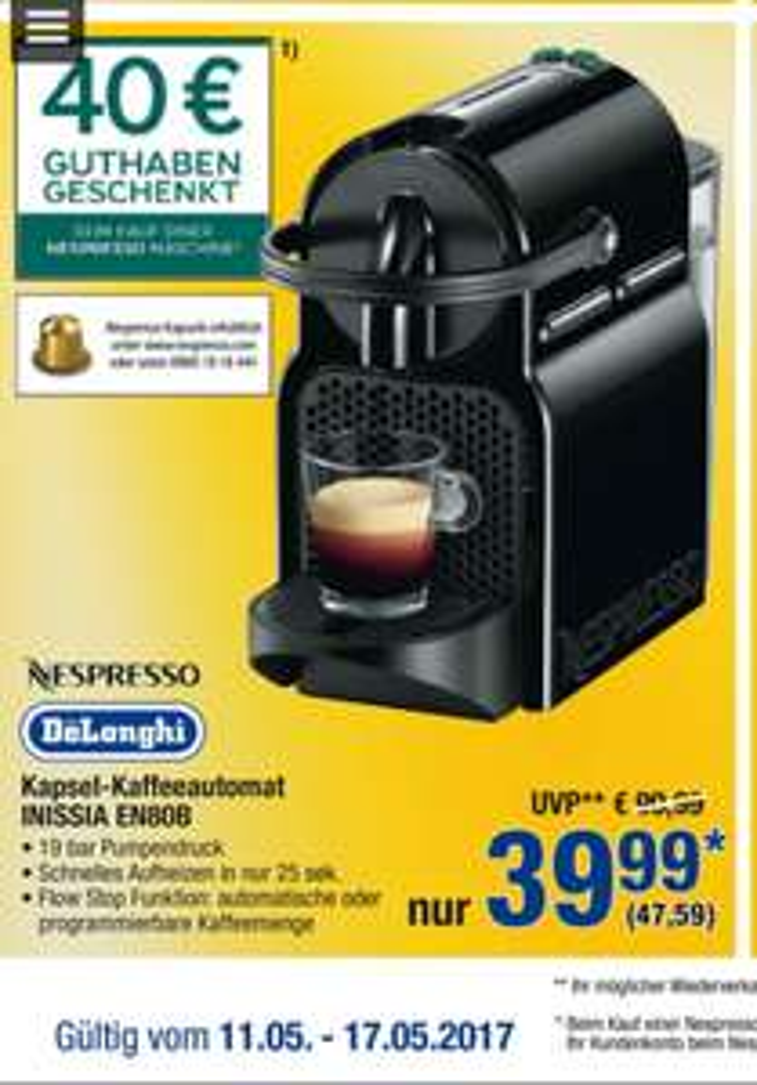[offline] DeLonghi Inissia EN80B Nespresso inkl. 40€ Guthaben @Metro