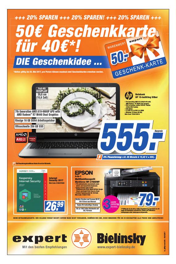 Lokal Bonn und Wittlich Expert Bielinsky 50€ Geschenkkarte für 40€!