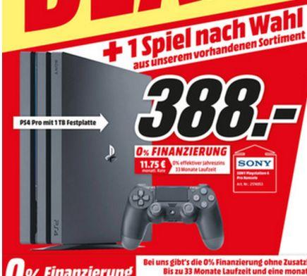 [Lokal Mediamarkt Köln-Marsdorf] PlayStation 4 (PS4) Pro 1TB + 1 Spiel nach Wahl aus dem gesamten Sortiment für 388,-€