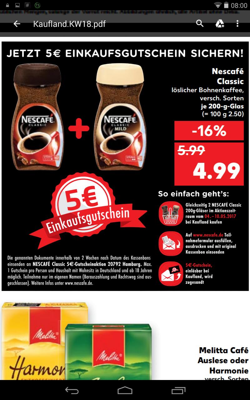 [Hit KW20] Nescafe Classic 200g löslicher Kaffee 4,99€, ab 15.05.17 -5€ Cashback bei Kauf von 2 Gläsern
