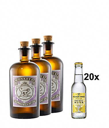 [Gourmondo] 3x Monkey 47 Gin + 20x Fever Tree für 98,70 inkl VSK (oder 1x Monkey 47 + 6x Fever Tree für 32,90 + VSK)
