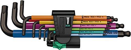 WERA 05073593001 950 SPKL/9 SM N Multicolour Winkelschlüsselsatz, metrisch, BlackLaser, 9-teilig [Amazon Prime]
