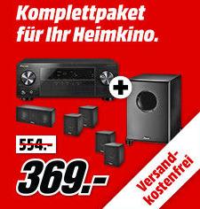Pioneer VSX-330-K 5.1 AV-Receiver mit 3D, 4K, HDCP 2.2 + Magnat Cinemotion 5000 Lautsprechersystem für 369€