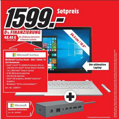 [Lokal Media Markt Hameln] Surface Book(256GB SSD, I5, 8GB RAM)