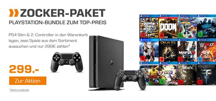 **Nur noch Heute** SONY PlayStation 4 Slim 500GB + 2.Controller + 2 Spiele nach Wahl aus dem gesamten verfügbaren PS4 Sortiment für 299,-€ [Saturn]