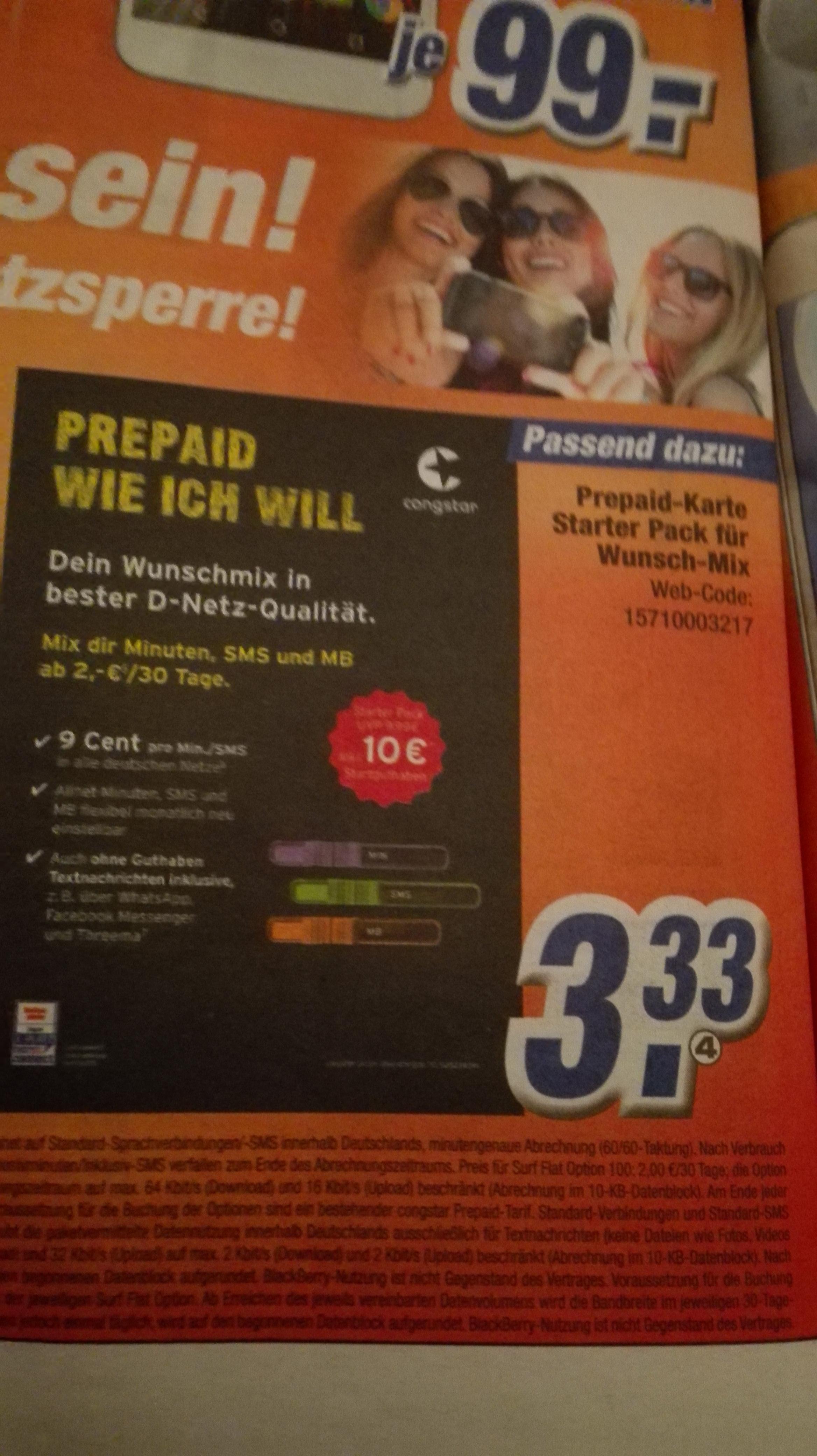 Congstar prepaid wie ich will für 3,33€ / 10€ SGH @ Expert klein