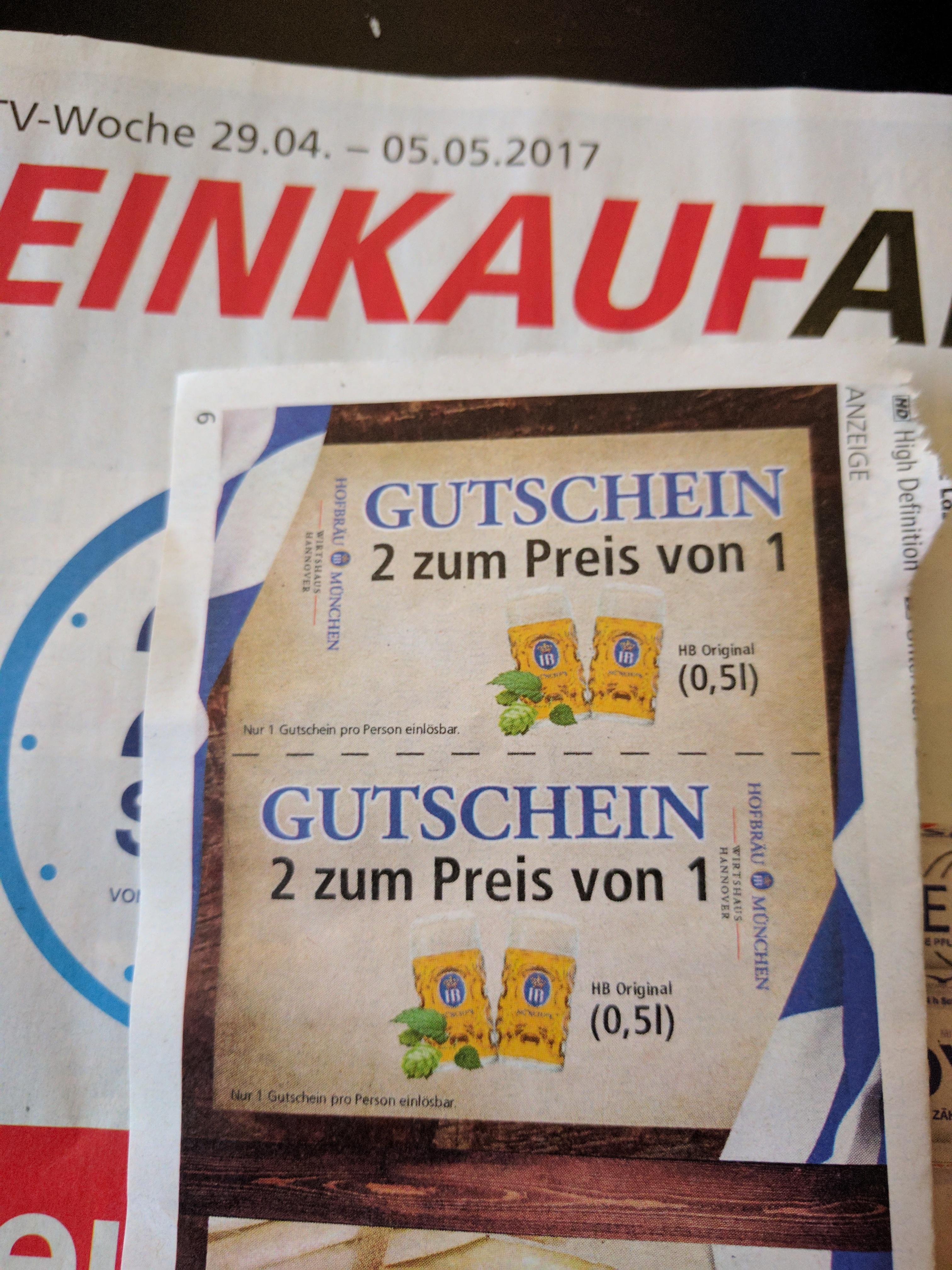[Hannover Lokal] Gutschein 2 für 1 Hofbräuhaus Bier in der EinkaufAktuell