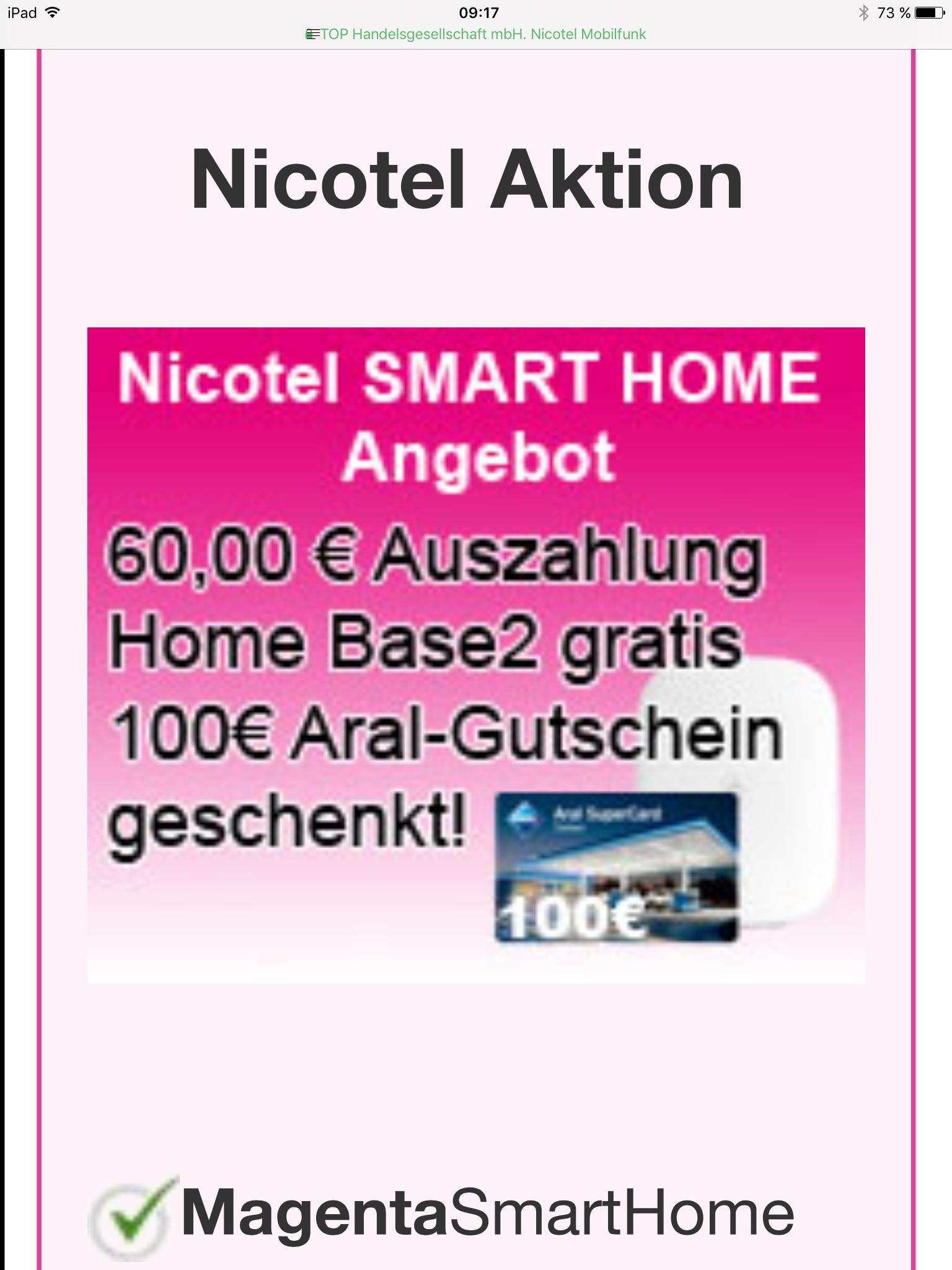 2 Jahre Telekom Smart Home mit Home Base 2, 60 Euro Auszahlung und 100 Euro Aralgutschein
