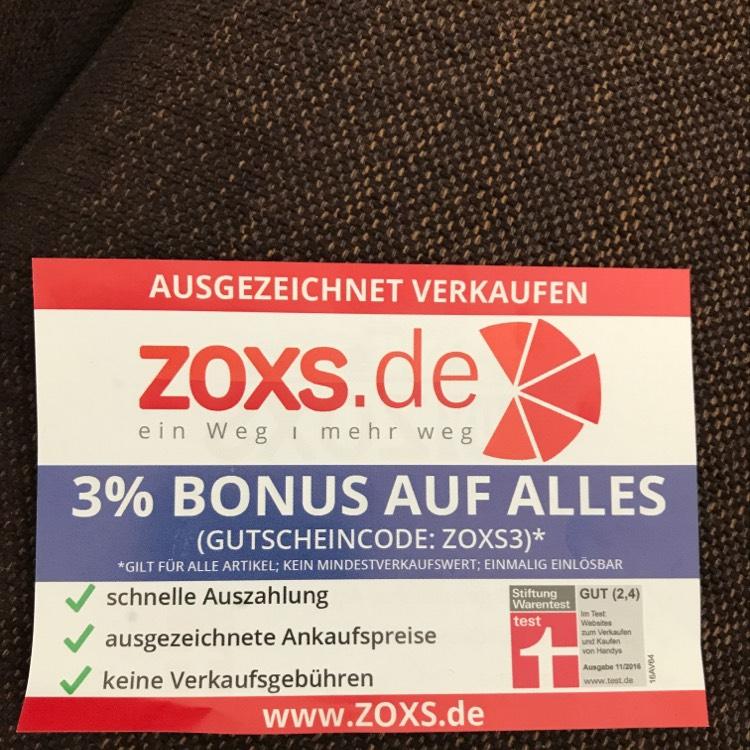 3% Bonus bzw. Rabatt auf An- bzw. Verkäufe bei Zoxs.de
