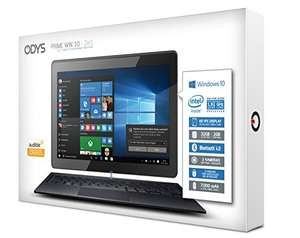 Odys Prime Win 10 2in1 25,7 cm (10,1 Zoll) Tablet-PC (Intel Atom Quadcore x5-Z8350, 2GB RAM, 32GB Flash HDD, Win 10) schwarz für 155,00 € @ Amazon