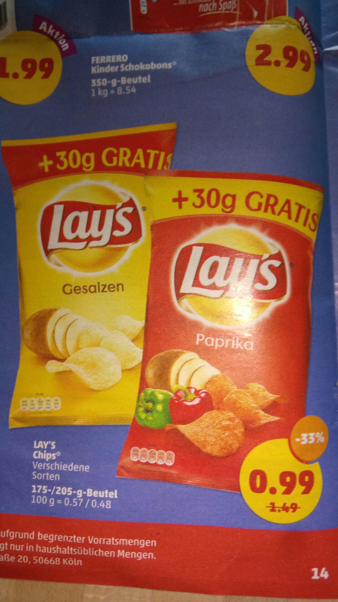 Lays Chips mit 30g mehr Inhalt, Penny