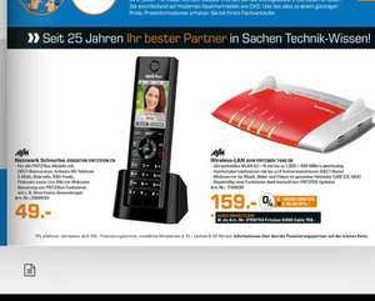[saturn Siegen] fritzbox 7490 DE für 159€ statt idealo 185€ und fritzphone c5 - 49€
