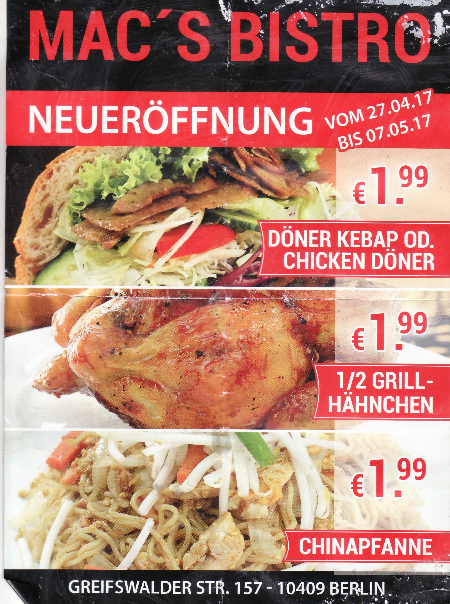 Lokal Berlin bis 07.05.2017: Für 1,99 Euro bei Mac's Bistro Döner oder 1/2 Hähnchen oder Chinapfanne