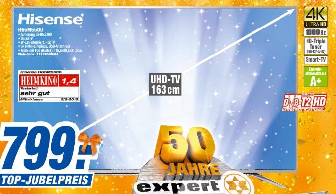 "(EXPERT Filialen siehe Text) HISENSE H65M5500 65"" 163cm TV * Triple-Tuner * 4K"