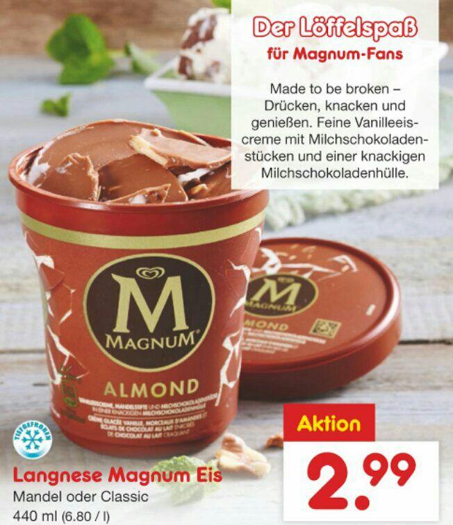 Der neue Becher von Magnum Langnesse Eis Netto