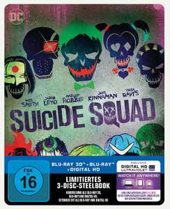 Suicide Squad - Steelbook inkl. Blu-ray Extended Cut (exklusiv bei Amazon.de)  [3D Blu-ray] [Limited Edition 24,97€ statt 39,99€ - Ersparnis 15,02€