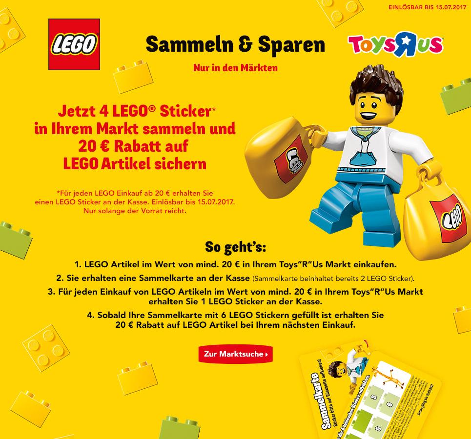 [Toysrus offline] Sammelaktion: 5x für min. 20€ Lego kaufen und 20€ Gutschein für Lego erhalten