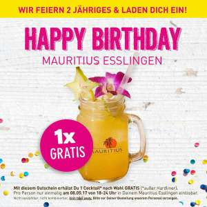 Gratis Cocktail im Mauritius in Esslingen am 08.05