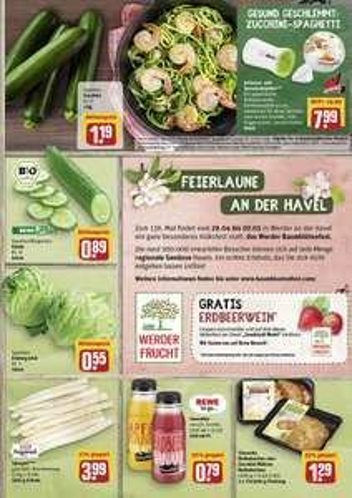 Aktuelle Rewe-Werbung: Coupon für gratis Erdbeerwein bis 07.05 in Werder/ Havel zum Baumblütenfest