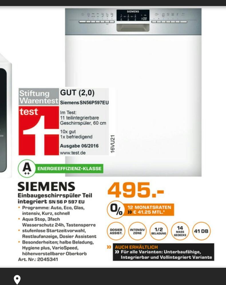 Saturn HF+B.Oeynh. Siemens Geschirrspüler SN56P597EU, 41db, A++, 60cm