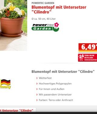 """Blumentopf mit Untersetzer """"Cilindro"""" verschiedene Größen ab 02.05. bei Norma auch Online"""
